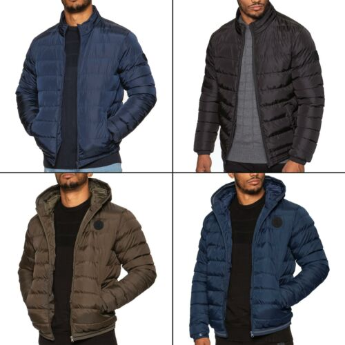 Mens Quilted Jacket Zip Up Bubble Plain Padded Puffer Winter Warm Outerwear Coat