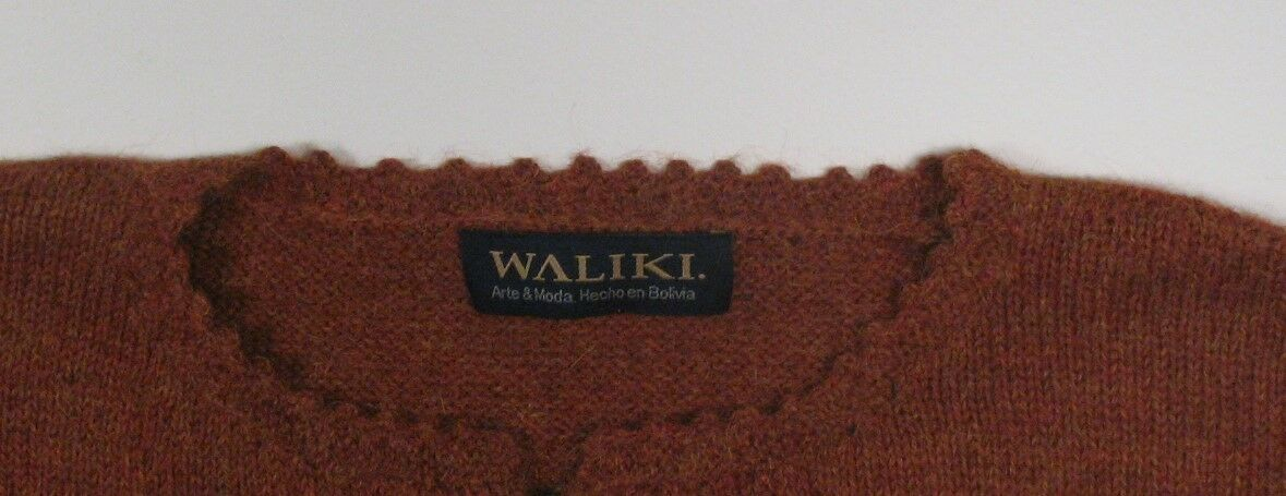 Womens Waliki 100% Alpaca Hand Loomed Loomed Loomed Rust Sweater Sz Med Cardigan w Embroidery e6afe6