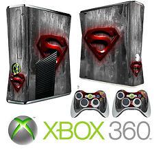 Xbox 360 SLIM Console Sticker Skin Super Man Logo Style & 2 X Controller Skins