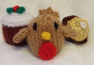 KNITTING PATTERN Christmas pudding and robin chocolate cover fits Ferrero Roc...