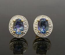9ct Yellow Gold Oval Neptune Topaz & Diamond Halo Stud Earrings (9x11mm)