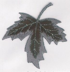 """2 3/4"""" x Black Metallic Gray Maple Leaf Embroidery Patch"""