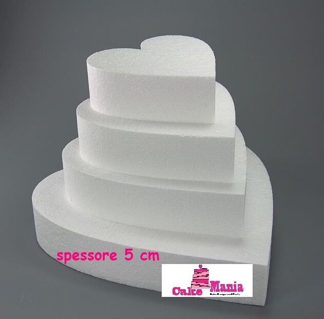 FORME IN POLISTIROLO A FORMA DI CUORE VARI DIAMETRI ALTEZZA 5 cm Cake Design