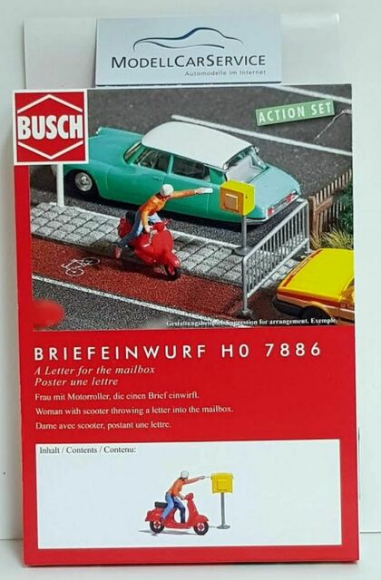 """Busch 1/87 : 7886 """" Action Set """": Mail Slot, With Motor Scooter And Figurine"""