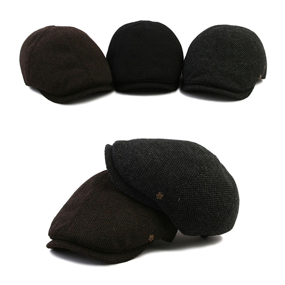 XL~2XL 61~64Cm Mqum Wool Tweed Unisex Mens Flat Hats Cap Newsboy Cabbie Gatsby Hats Flat 1ae479