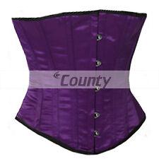 Full Steel Boned Sexy Basque Bustier Gothic Shaper Underbust Purple Satin Corset