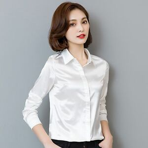 3ffe6acc6e9719 Lady Simulate Silk Satin Shirt Long Sleeve Formal Work Shiny Blouse ...