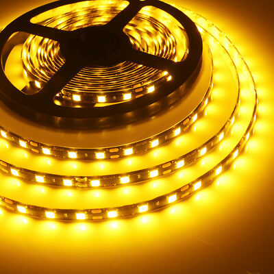 Waterproof 12V AMBER LED Strip Lights 5M 5050 SMD 300 Leds Light For Car Caravan