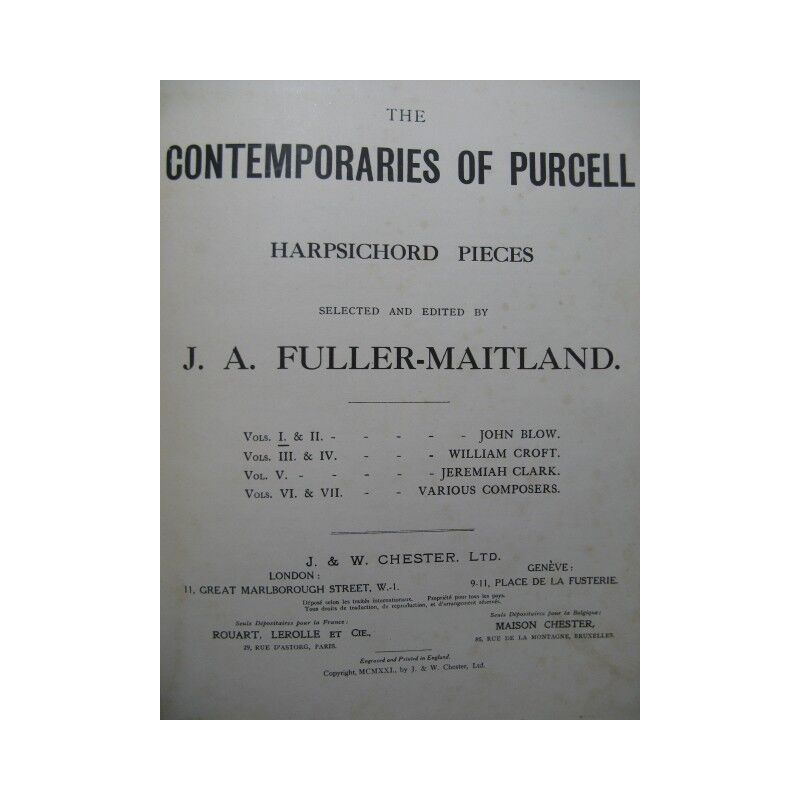 The Contemporaries of Purcell Harpsichord Pieces 7 Volumes Clavecin 1921 partiti