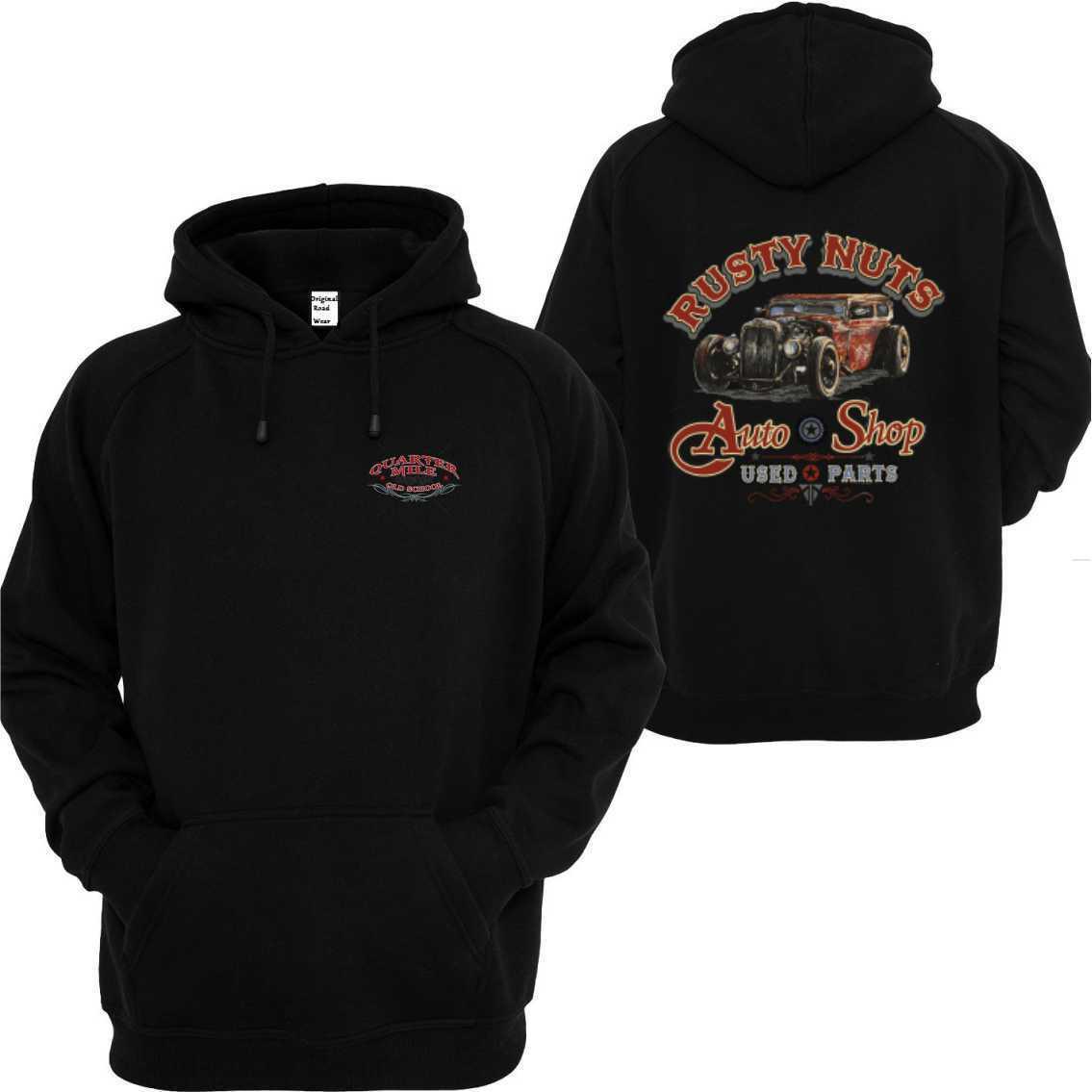 Kapuzensweatshirt black V8 Oldschool Hot Rod US Car `50 Stylemotiv Rusty Nuts