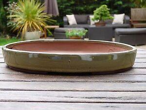 31-cm-Handmade-Green-Glazed-Oval-Bonsai-Pot-br