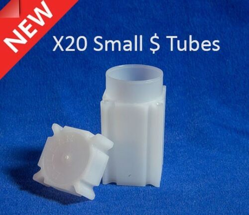 20 Square Coin Safe Tubes Lot US Small Dollar Size 26.80mm Sacagawea Storage