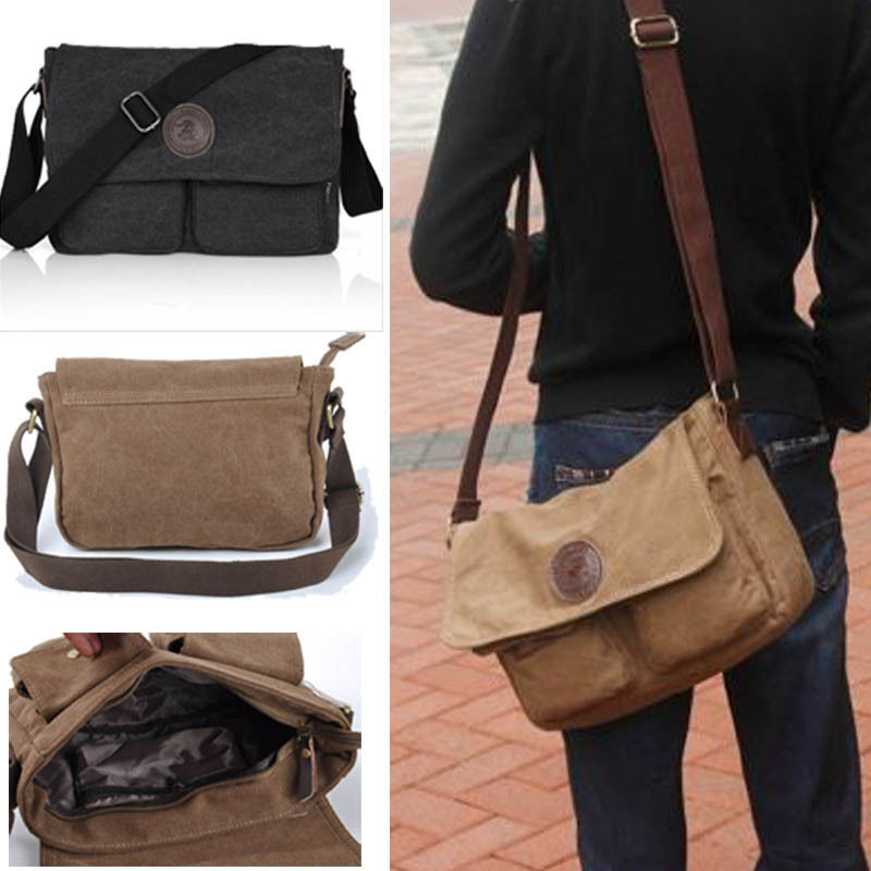 Vintage Men's Canvas Messenger Shoulder Bag Military Crossbody Book Bags Satchel