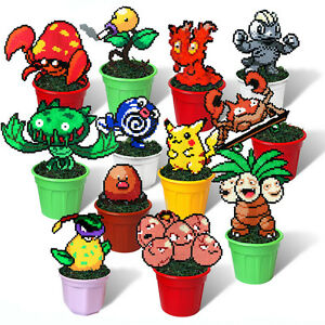 12 Pokemon Figures In Plant Pots Rare Pixel Art Beads Handmade Toy