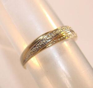 Details zu Diamantring elegant, Goldring Ring Bicolor,Echtgold, Gold 14 Kt = 585 Gr:50