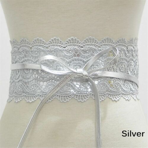 Commerbund Women Waist Belt Wide Corset Bow Elastic Cinch Wide Lace Waistband