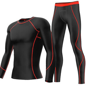 Mens-Compression-Shirts-Pants-Base-Layer-Sportswear-Training-Running-Tights
