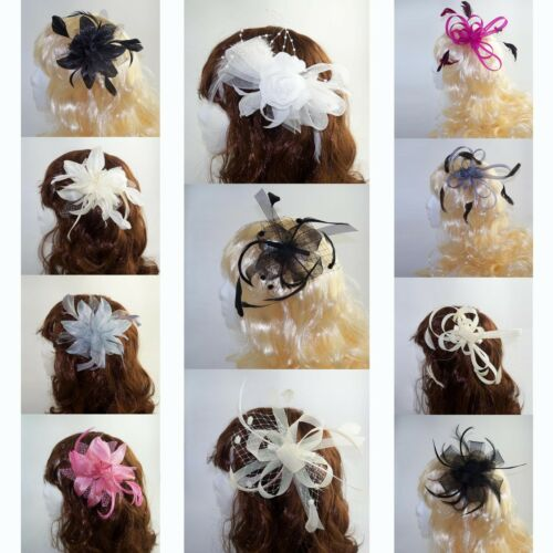 Ladies Wedding Day Prom Fascinator on Clear Comb with Feather detail