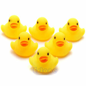5 Pcs Yellow Baby Children Bath Toys Cute Rubber Squeaky Duck Ducky YM