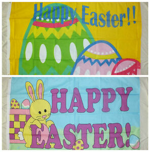HAPPY-EASTER-5x3-Flag-Bunny-Party-Celebration-School-Home-Business-Trade-egg-bn