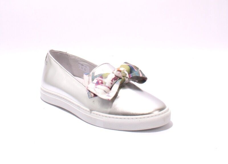 Diego Bellini 5016 Metallic Leather / Fabric Bow Slip-On Loafers 40.5 / US 10.5