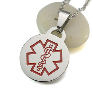 Silver tone stainless steel medical alert id blank dog tag pendant image is loading silver tone stainless steel medical alert id blank aloadofball Images