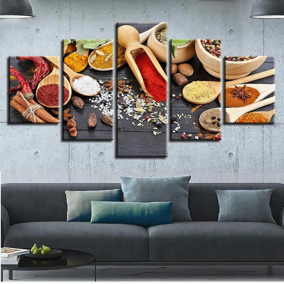 Wooden Spoon of Spices Kitchen Tools 5 pieces Canvas Wand Poster Home Decor
