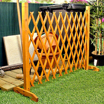 """Expanding Fence Garden Screen Trellis Style Expands to 6'2"""" Freestanding Wood"""