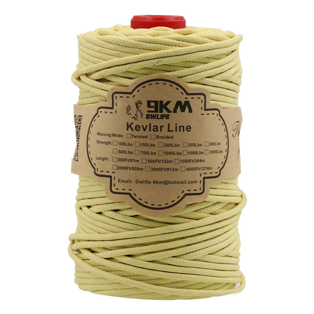 Heavy Duty 2000Lbs 300Ft Kevlar  Cords Multi-strands Weaving Hiking Working Rope  get the latest