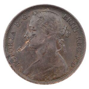 1892-Great-Britain-1-Penny-in-XF-Condition-Lamination-Error-KM-755