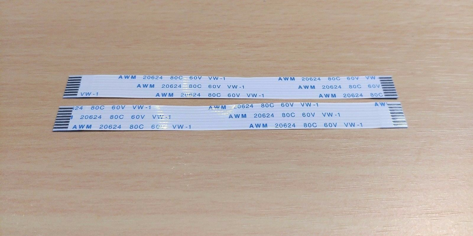 2 PACK - 100mm 8 pin 1mm Pitch FFC FPC Ribbon Cable FORWARD AWM 20624 80C 60V