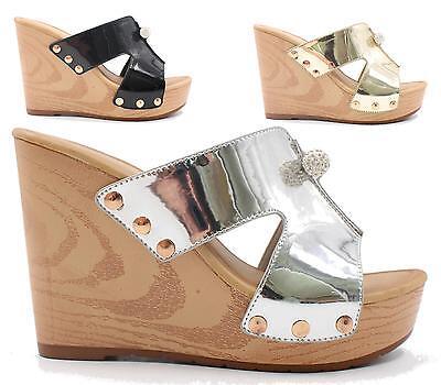 Señoras Cuña Peeptoe plataforma de madera maciza Resbalón En Sandalias Cloggs Zapatos Mulas