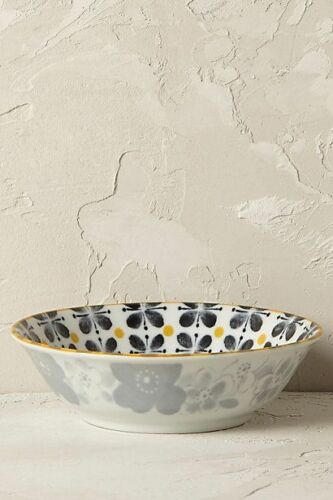 Anthropologie ROSSO Nut Bowl Flowers Porcelain Japan Blue Green Black Yellow NWT