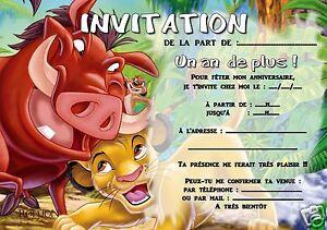 Détails Sur 5 Ou 12 Cartes Invitation Anniversaire Le Roi Lion Réf 309