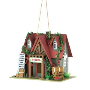 HOME-GARDEN-DECOR-COTTAGE-WINERY-BIRD-HOUSE-BIRDHOUSE-WOOD