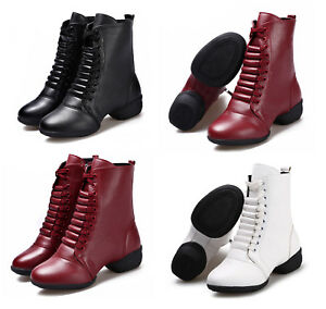 f9c0d34424b4 Women Girls Leather Jazz Dance Boot Shoes Lace Up Sport Dancing ...