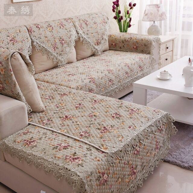 HBZ267 LACE QUILTED SOFA CHAIR SETTEE ARM CHAIR PET PROTECTOR SLIP COVER CUSHION
