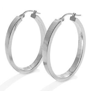 Sterling Silver Flat Oval Hoops Earrings