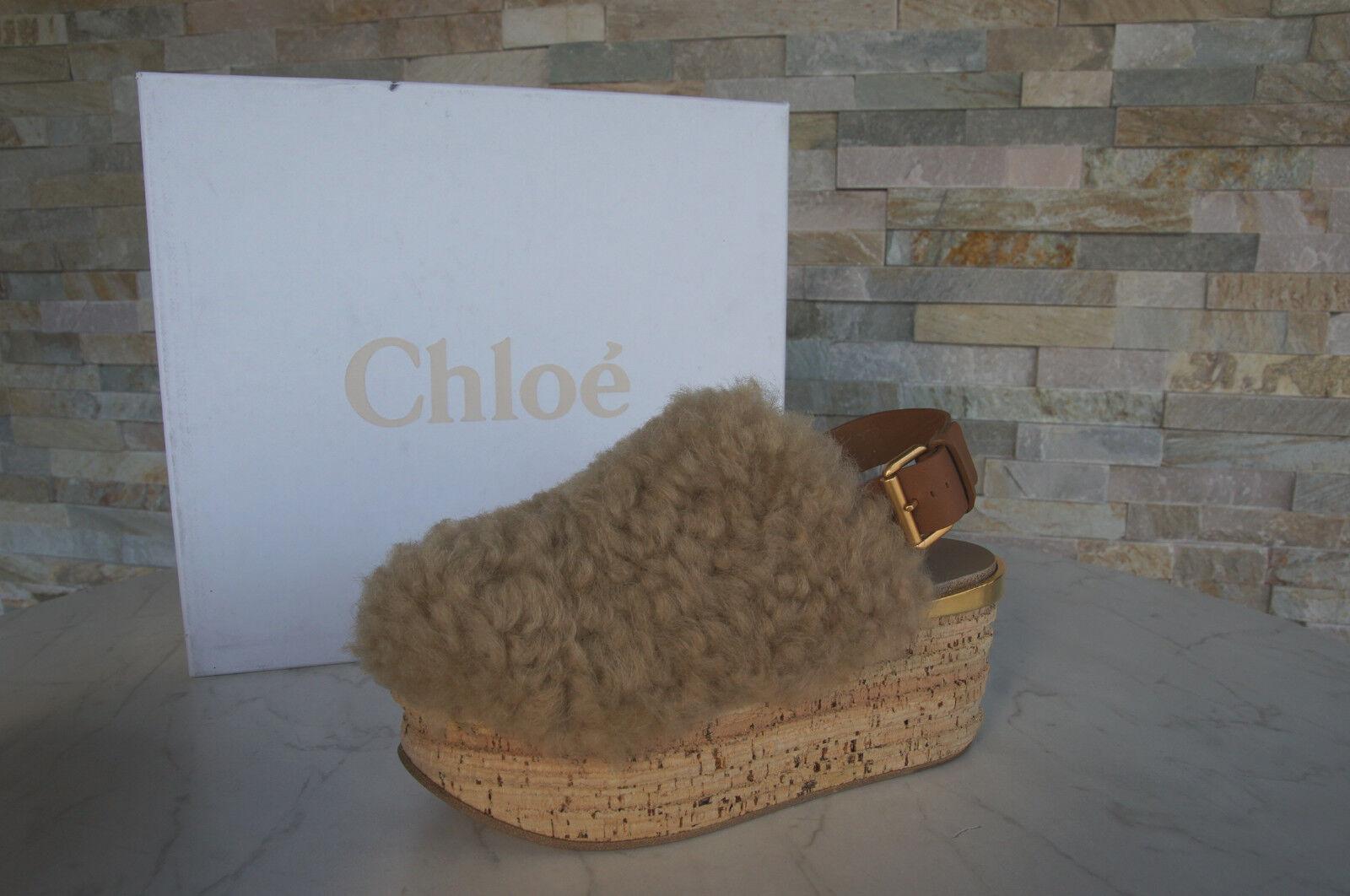 Chloé Chloe 36 oveja oveja oveja fell plataforma sabot sandalias mules zapatos nuevo ehemuvp  ventas en linea