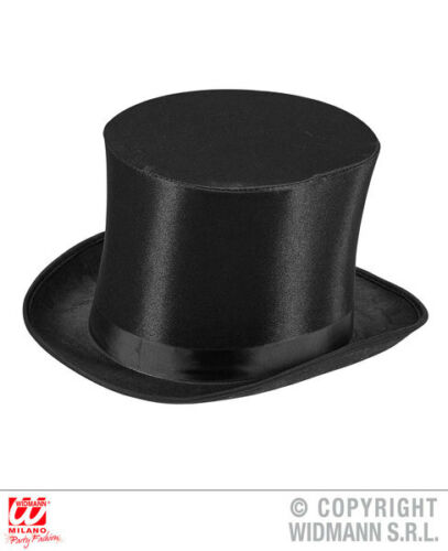 Black Satin Top Hat With Band Victorian Gentleman Fancy Dress Accessory