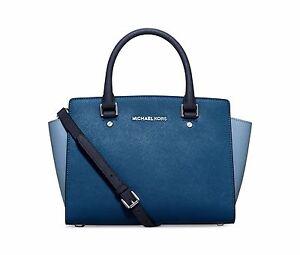 5840c99412f8 Michael Kors Saffiano Leather Selma Medium TZ Satchel 298 Colorblock Blue