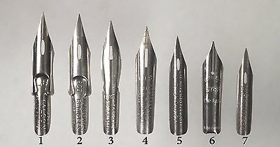 7 Writing, Drawing Pen & Ink Nibs - asst. fine points - quality dip pens -unused