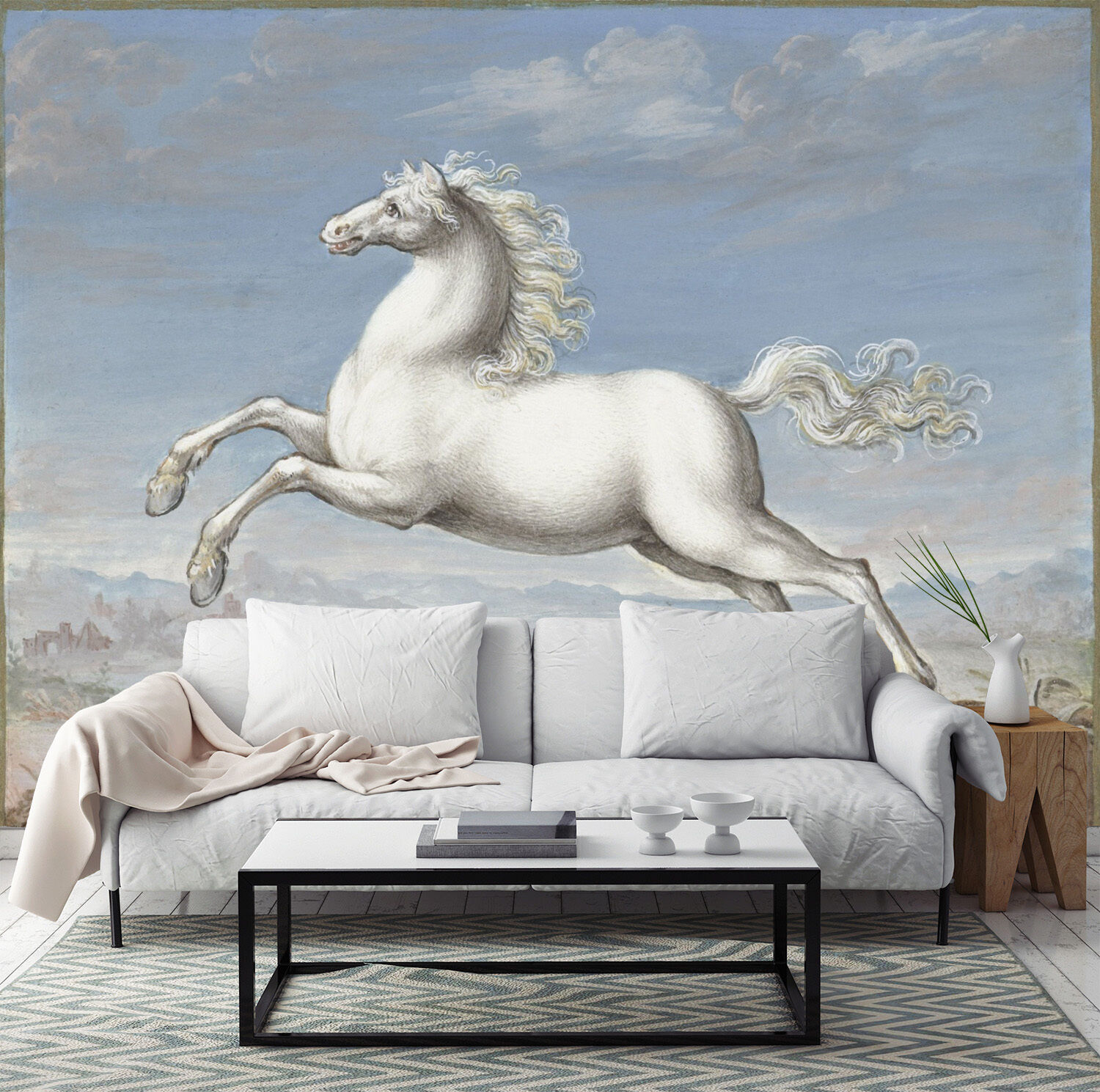 3D White horse 688 Wall Paper Wall Print Decal Wall Deco Indoor wall Murals