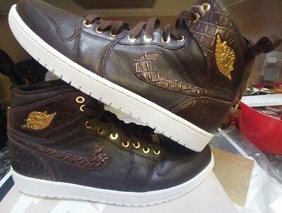 online store 23d95 8e9da Nike Air Jordan 1 Pinnacle Croc Size 14 Baroque Brown Metallic Gold  705075-205