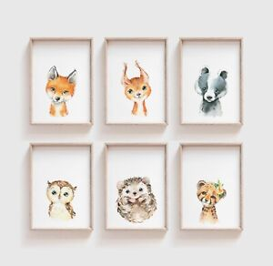 Aquarelle-Baby-Woodland-Animal-Nursery-Imprime-chambre-a-coucher-Art-Cute-kids-unisex