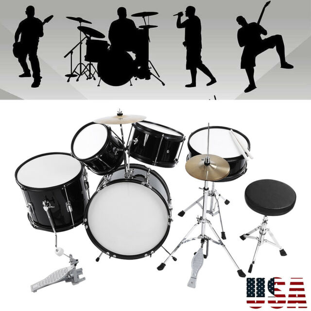 5pcs Complete Adult Drum Set Cymbals Full Size Kit With Drum Stool
