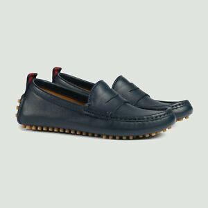 12d79927f NIB NEW Gucci kids boys navy blue leather moccasins drivers web 27 ...