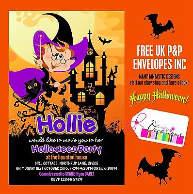 Halloween Party Invitations - 5 x Personalised Prints large design choice