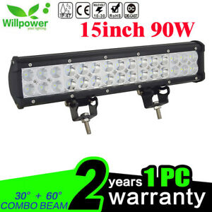 Details About 15inch 90w Led Light Bar Flood Spot Work Driving Offroad 4wd Truck Atv Suv Car