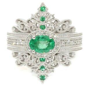 Magnifique-925-Argent-Anneaux-De-Mariage-Pour-Femmes-Ovale-Cut-Emerald-Ring-Taille-6-10